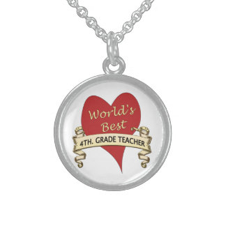 World's Best 4th. Grade Teacher Sterling Silver Necklace