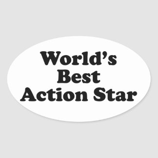 World's Best Action Star Oval Sticker