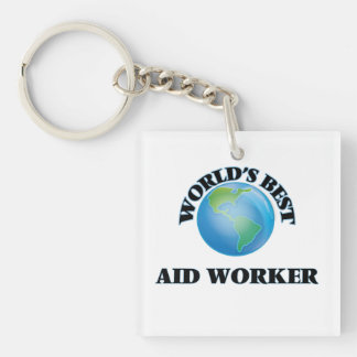 World's Best Aid Worker Square Acrylic Key Chain