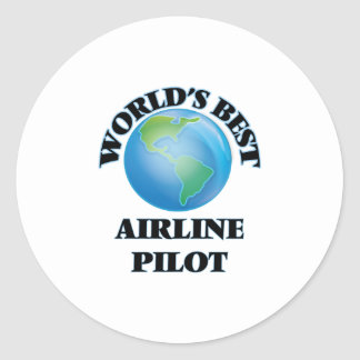 World's Best Airline Pilot Round Stickers