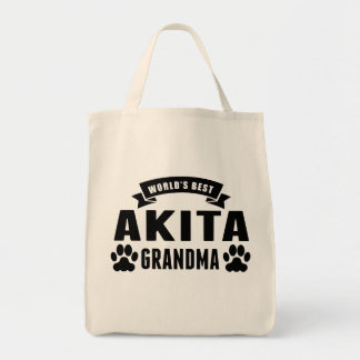 World's Best Akita Grandma Grocery Tote Bag