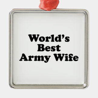 World's Best Army Wife Silver-Colored Square Decoration