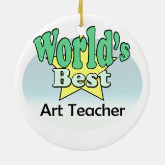 World's best Art Teacher Round Ceramic Decoration