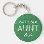 World's Best AUNT Custom Green Gift Item 10 Basic Round Button Key Ring