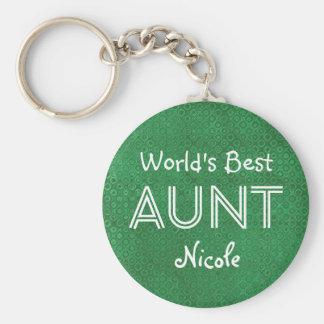 World's Best AUNT Custom Green Gift Item 10 Key Ring
