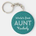 World's Best AUNT Custom Name Green Gift Item 05 Basic Round Button Key Ring