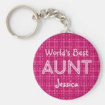 World's Best AUNT Custom Pink Gift Item 11 Basic Round Button Key Ring