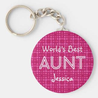 World's Best AUNT Custom Pink Gift Item 11 Key Ring