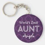 World's Best AUNT Custom Purple Gift Item 07 Basic Round Button Key Ring