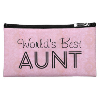 World's Best AUNT Family Appreciation Bag PINK Makeup Bags