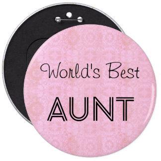 World's Best AUNT Family Appreciation Gift PINK 6 Cm Round Badge