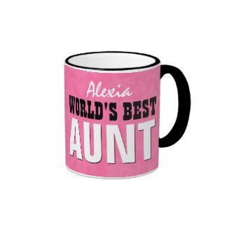 World's Best AUNT Pink Grunge V23 Ringer Mug