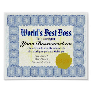 World's Best B oss Certificate Print