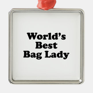 World's Best Bag Lady Silver-Colored Square Decoration