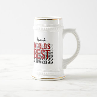 World's Best Bartender Custom Name Beer Stein