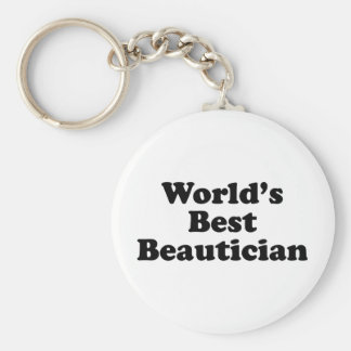 World's Best Beautician Basic Round Button Key Ring