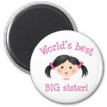Worlds best big sister - asian girl refrigerator magnets