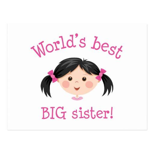 Worlds best big sister - asian girl postcard