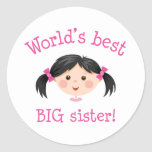 Worlds best big sister - asian girl round stickers