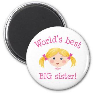 Worlds best big sister - blond hair 6 cm round magnet