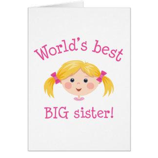 Worlds best big sister - blond hair greeting card
