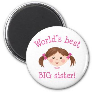 Worlds best big sister - brown hair 6 cm round magnet