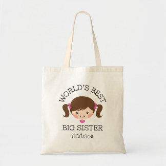 Worlds best big sister brown hair personalized budget tote bag
