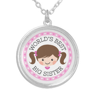 Worlds best big sister cartoon girl brown hair round pendant necklace