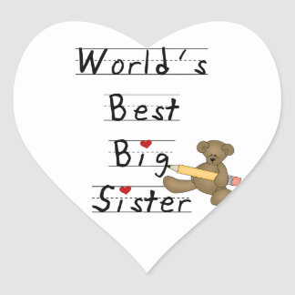 World's Best Big Sister Gifts Heart Sticker