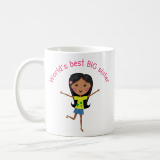 Worlds best big sister with cartoon girl cup coffee mug