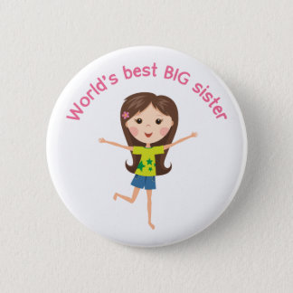 Worlds best big sister with cartoon girl pinback 6 cm round badge