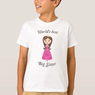 Worlds best big sister with cartoon princess girl tee shirt