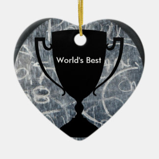 """World's Best"" Black & White Trophy Print Ceramic Heart Decoration"