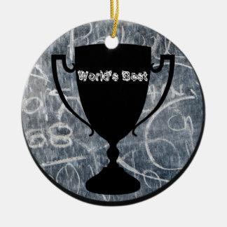 """""""World's Best"""" Black & White Trophy Print Round Ceramic Decoration"""