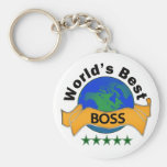 World's Best Boss Basic Round Button Key Ring