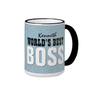 World's Best BOSS Blue Custom Name V11 Coffee Mugs