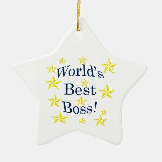 Worlds Best Boss Ceramic Star Decoration