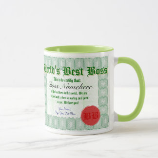 World's Best Boss Certicate Award Mug