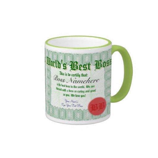 World's Best Boss Certicate Award Mug