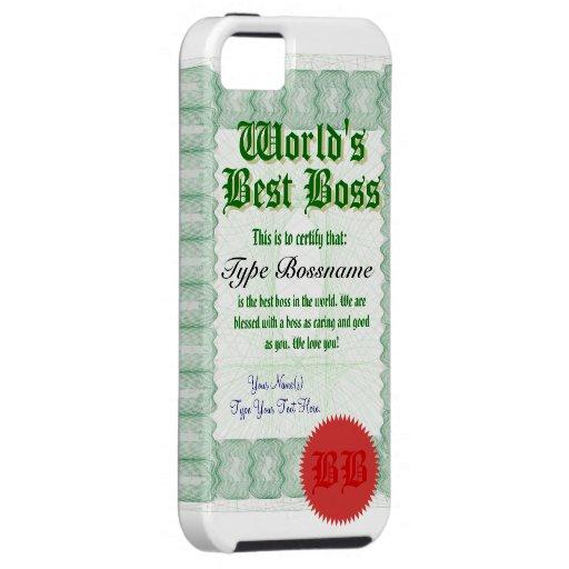 World's Best Boss Certicate iPhone 5 Case