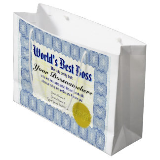 World's Best Boss Certificate Large Gift Bag