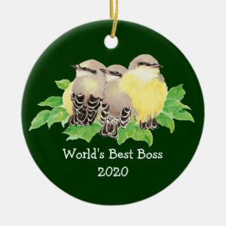 World's Best Boss Custom Dated Western King bird Christmas Ornament