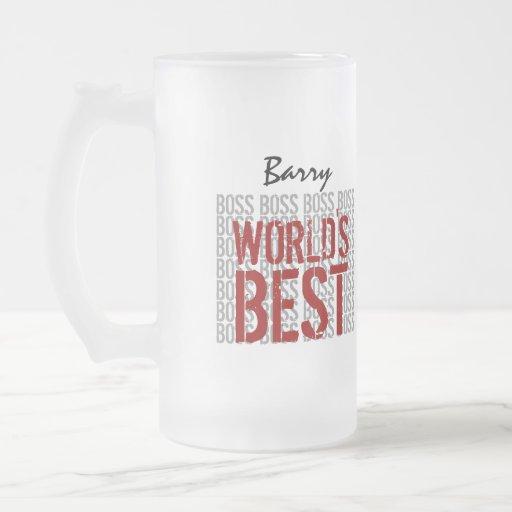 World's Best Boss Grunge Lettering Custom Name B20 Mug