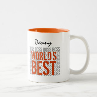 World's Best Boss Grunge Lettering Custom Name B2A Two-Tone Coffee Mug