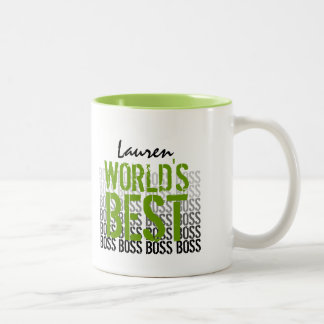 World's Best Boss Grunge Lettering Green 013 Two-Tone Coffee Mug