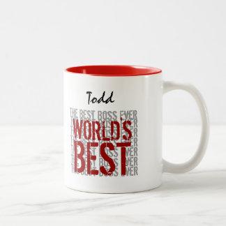 World's Best Boss Grunge Text Custom Name B22A Two-Tone Mug