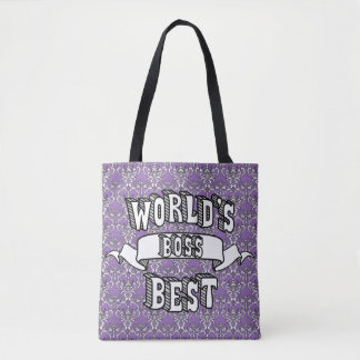 World's Best Boss Typography Text Tote Bag