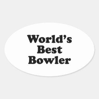 World's Best Bowler Oval Sticker
