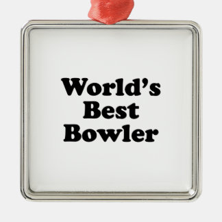 World's Best Bowler Silver-Colored Square Decoration