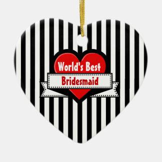 World's Best BRIDESMAID Red Heart Ribbon 11 Ceramic Heart Decoration